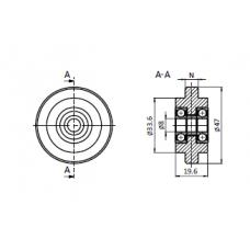 10606 | Ролик 47 мм, з підшипником, паз 10 мм
