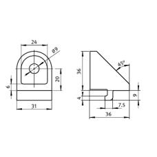 10851 | Угловой поворотный зажимной кронштейн 40 паз 8. Item 0.0.457.77