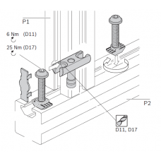 10464 | Болтовий з'єднувач станочних алюмінієвих профілів 45, паз 10