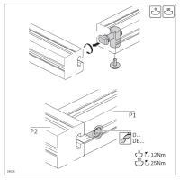 10463 | Швидкий затискний з'єднувач, 90 градусів, паз 10, на алюминієвий профіль Bosch