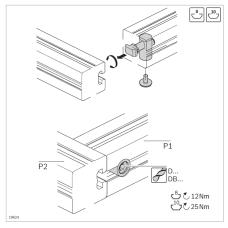 10461 | Швидкий затискний з'єднувач верстних профілів, 90 градусов, паз 8, на алюминієвий профіль Bosch