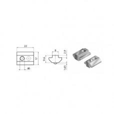 10502 | Сухарь торцевая загрузка паз 8 Item фиксатор, М4-М8