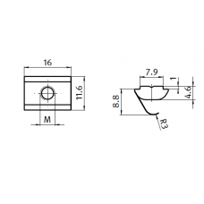 10476 | Сухар пазовий підпружинений з фронтальним завантаженням, паз 8 Bosch, М4-М5-М6-М8