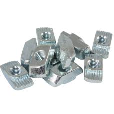 10119 | Т-подібна гайка самостопорна, паз 8 та 10, виступ 1,7 та  3,0 мм, М3-М8, сталь оцинкована