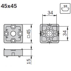 10468 | Т-подібний торцевий з'єднувач, 4545 45х45 45x45, паз 10