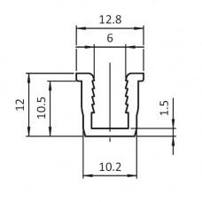 10646 | Окантовочний профіль - профільна вставка - ущільнювач 6 мм, паз 10 профілів Bosch, чьорний, 2м