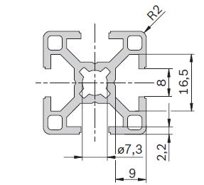 Станочный профиль 30х30 Bosch паз 8 размеры