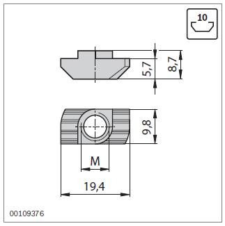 Параметры т-гаек для паза 10 профилей Bosch