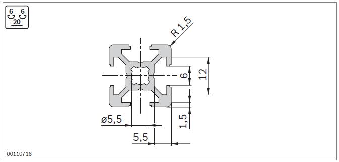 Станочный профиль 20х20 Bosch паз 6 размеры