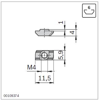 Параметры т-гаек для паза  6 профилей Bosch