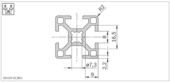 Станочный профиль 30х30 Bosch- параметры