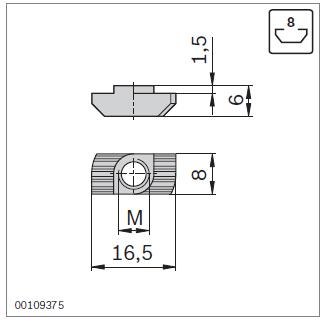Параметры т-гаек для паза 8 профилей Bosch