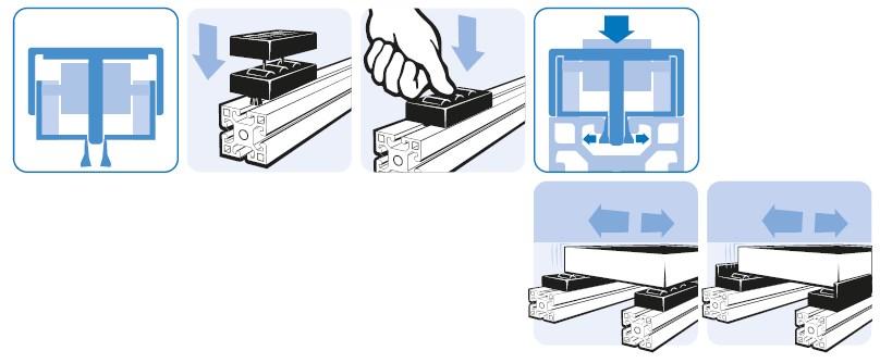 Монтаж тип 1 роликовой сборки на станочном профиле