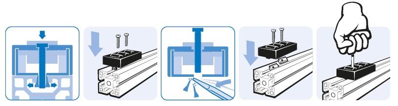Монтаж тип 2 роликовой сборки конвейера на станочном профиле
