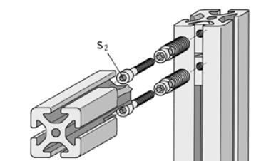 Монтаж  автоматического крепления Item в станочный профиль
