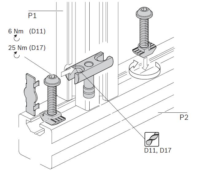 Общая схема сборки болтовых соединителй станочных профилей