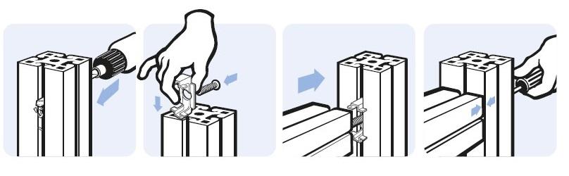 Схема монтажа соединительных пластин станочных профилей