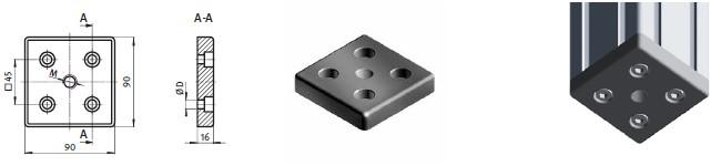 Адаптер на станочный профиль 90х90  для регулируемых опор